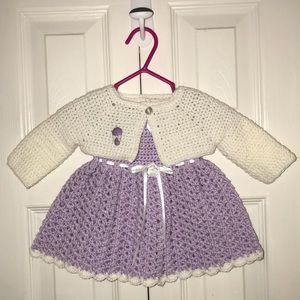 Other - Purple and White Handmade Dress & Cardigan
